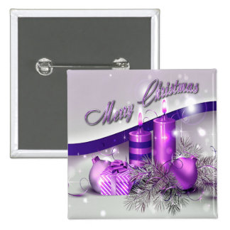 Christmas Candles Purple Sparkle 2 Inch Square Button