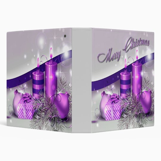 Christmas Candles Purple Sparkle 3 Ring Binder