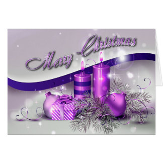 Christmas Candles Purple Sparkle Greeting Card