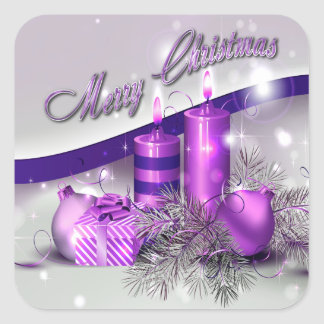 Christmas Candles Purple Sparkle Square Sticker