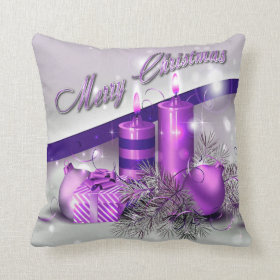 Christmas Candles Purple Sparkle Throw Pillows