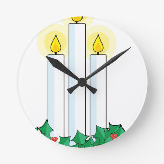 christmas candles round clock