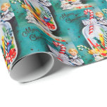 """Christmas candy Angels retro vintage party Wrapping Paper<br><div class=""""desc"""">design by www.etsy.com/Shop/VanityFlairDesigns</div>"""