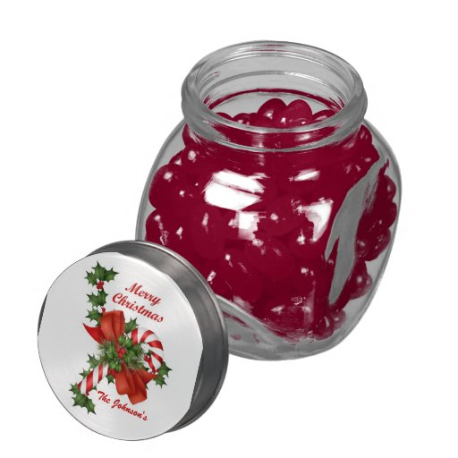 Christmas Candy Cane and Holly Glass Jar