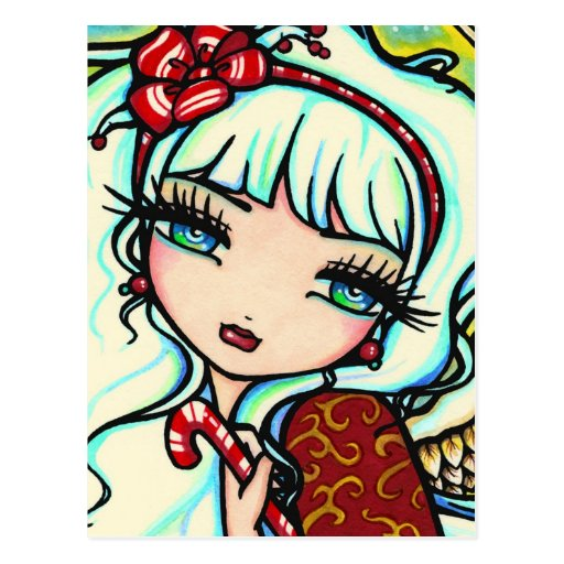 Christmas Candy Cane Angel Fantasy Art Postcard