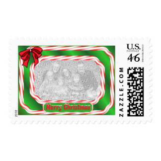 Christmas Candy Cane Border Photo Stamp