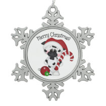 Christmas candy cane cow pewter snowflake ornament