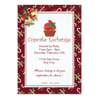 "Christmas Candy Cane Cupcake Exchange Invitation 5"" X 7"" Invitation Card"