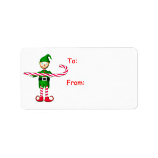 Christmas Candy Cane Elf Gift Tag Personalized Address Label