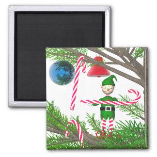 Christmas Candy Cane Elf Fridge Magnet
