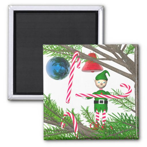 Christmas Candy Cane Elf Fridge Magnet