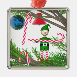 Christmas Candy Cane Elf Metal Ornament