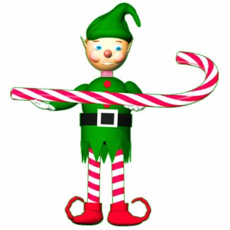 Christmas Candy Cane Elf Statuette