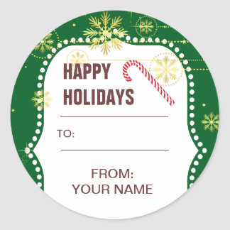 Christmas Candy Cane Gift Label Classic Round Sticker