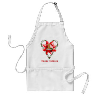 Christmas Candy Cane Heart Bow Holiday Apron