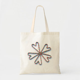 Christmas Candy Cane Heart Flower Canvas Bag