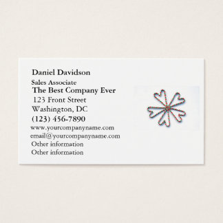 Christmas Candy Cane Heart Flower Business Card