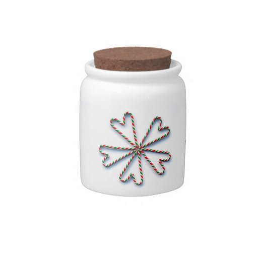 Christmas Candy Cane Heart Flower Candy Jar