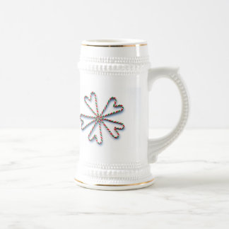 Christmas Candy Cane Heart Flower 18 Oz Beer Stein