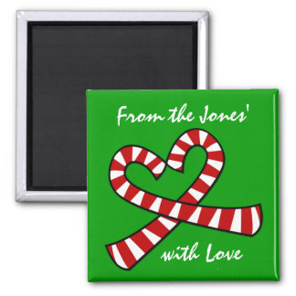 Christmas Candy Cane Heart Magnet