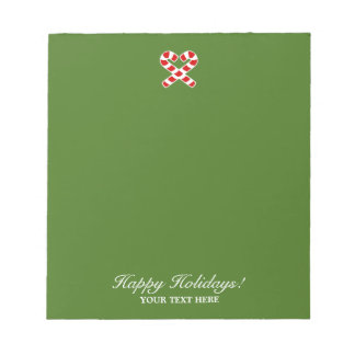 Christmas candy cane heart personalized Holiday Notepad