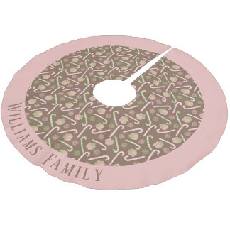 Christmas Candy Cane Holiday Monogram Brushed Polyester Tree Skirt