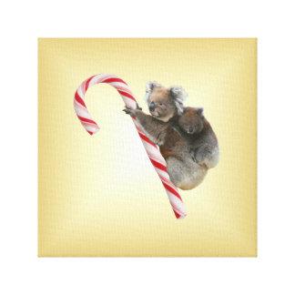 Christmas Candy Cane Koalas Canvas Print