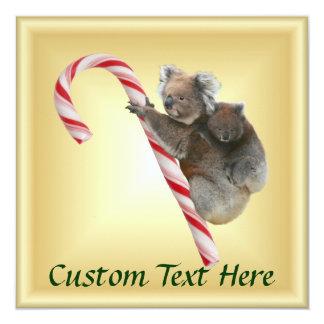 Christmas Candy Cane Koalas Card