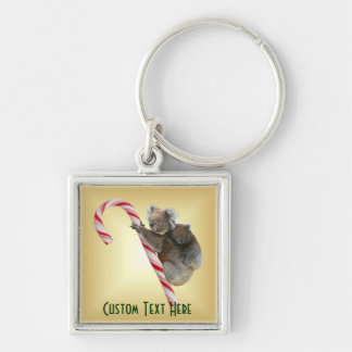Christmas Candy Cane Koalas Silver-Colored Square Keychain