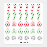 [ Thumbnail: Christmas Candy Cane, Ornament, Snowflake Symbols Sticker ]