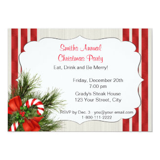 Christmas Candy Cane Party Invitation