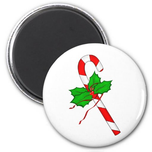 Christmas Candy Cane - Red 2 Inch Round Magnet
