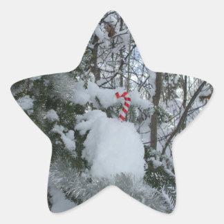 Christmas Candy Cane Star Sticker