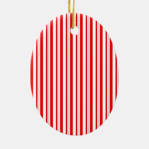 Christmas Candy Cane Striped Red White Ceramic Ornament