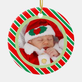 Christmas Candy Cane Stripes Frame Baby Photo Ceramic Ornament