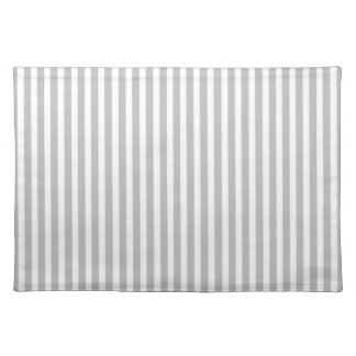 Christmas Candy Cane Stripes in White and Silver Cloth Placemat