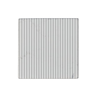 Christmas Candy Cane Stripes in White and Silver Stone Magnet