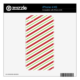 Christmas Candy Cane Stripes Skin For The iPhone 4