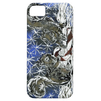 Christmas Candy Cane & Two Squirrels - block print iPhone SE/5/5s Case