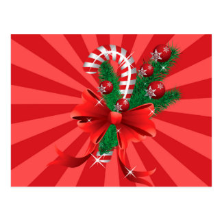 Christmas candy cane with bow 2 postcard