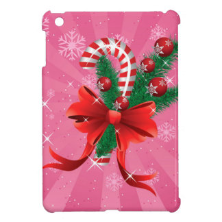 Christmas candy cane with bow 3 iPad mini cover