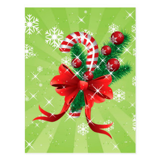 Christmas candy cane with bow 4 postcard