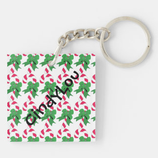 Christmas Candy Cane with Green Ribbon Double-Sided Square Acrylic Keychain