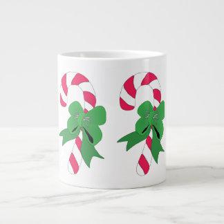 Christmas Candy Cane with Green Ribbon Large Coffee Mug
