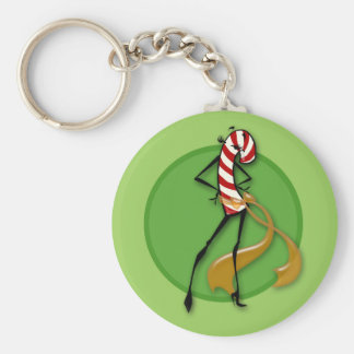 CHRISTMAS CANDY CANE WOMAN BUTTON KEY CHAIN