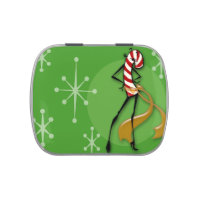 CHRISTMAS CANDY CANE WOMAN MINT CANDY TIN