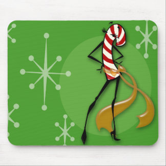 CHRISTMAS CANDY CANE WOMAN MOUSE PAD