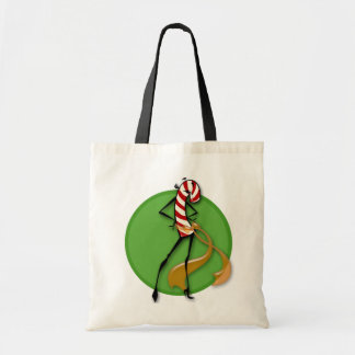 CHRISTMAS CANDY CANE WOMAN TOTE BAG