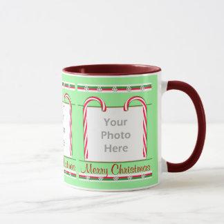 Christmas Candy Canes 3-Photo Frame Mug