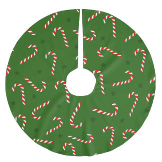 christmas candy canes brushed polyester tree skirt